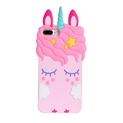 iPhone 7 Case, iPhone 8 Pink Unicorn Case, Joyleop Cartoon Silicone Cute Adorable 3D Design Fun Case, Shockproof and Protective Soft Phone Cover for Apple iPhone 8 4.7 inch (iPhone - Cute Unicorn