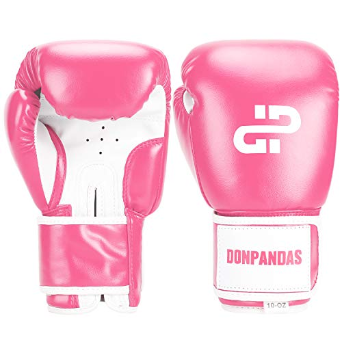 Donpandas Boxing Gloves for Women & Men Punching Heavy Bag Gloves Essential Gel Boxing Kickboxing Sparring Muay Thai Training Gloves (Pink & White, 8 oz)