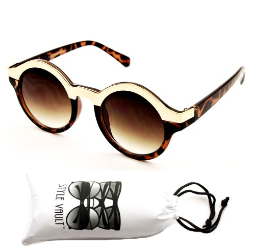 V130-vp Style Vault Round Metal Top Sunglasses (1465 gold/tortoise brown, - Gold Tortoise