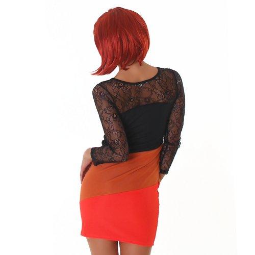 Mangas de encaje de manga larga vestido de mujer mini de encaje de cuello redondo colour cóctel vestido Rost-Rot