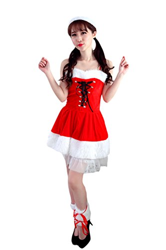 Honeystore Women's Sexy Mrs Claus Adult Christmas Costume Outfit Style (Mrs Santa Claus Costume Uk)