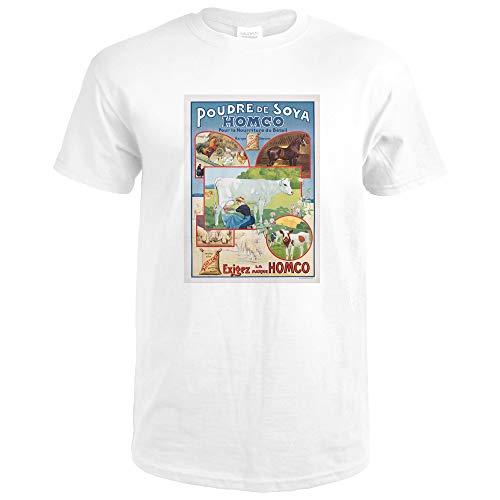 Homco - Poudre de Soya Vintage Poster (artist: Medaille) France 58572 (Premium White T-Shirt XX-Large)