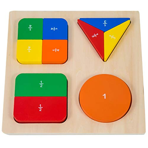 (GHIFANT Shape Sorter Board Math Score Learning Puzzles Wooden Toy for Kids Geometric Blocks)