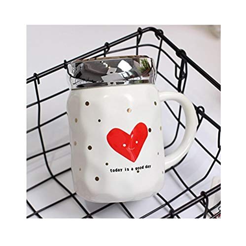 Fskjmkb Lovely Letter Peach Heart Cup Frosted Mirror Glass Cup Creative Coffee Milk Mug 420Ml Big Peach Heart