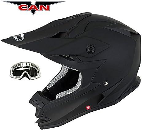 V-CAN V321 fuerza Motor Ciclo bicicleta Motocross dorado ACU negro mate casco con gafas: Amazon.es: Coche y moto