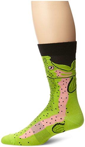 Trout Package (K. Bell Socks Men's Leg Eater Trout Crew Sock,Black,Sock size:10-13/shoe size: 6.5-12)