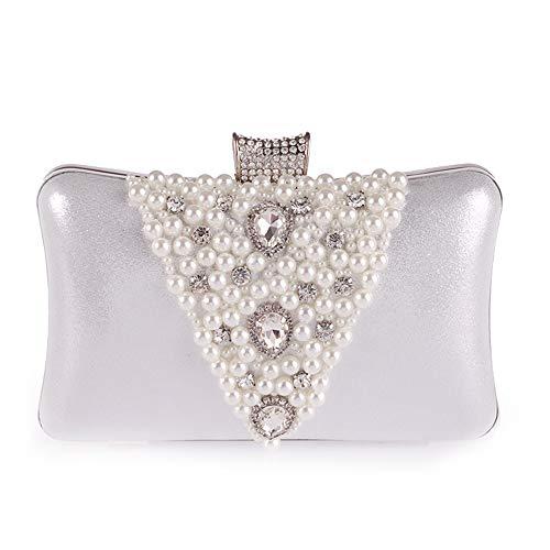 Ofgcfbvxd Borsa da sera con borsa da sera per donna con frange di perle tempestate di diamanti (Colore : Oro) Argento