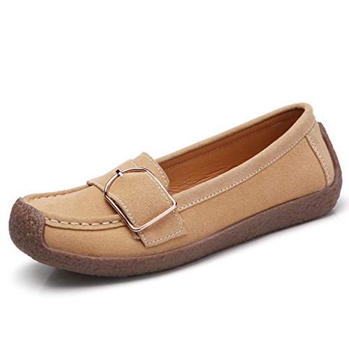 Respctful✿Women's Leather Loafers Fashion Slip-Ons Driving Walking Casual Shoes Ladies Non Slip Moccasins Soft Sole Shoe