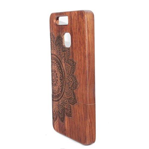 para HTC One M9 Wood Case, Vandot 2 en 1 Funda Madera Real Rigida Cubierta Carcasa Protectiva Tapa Trasera Anti-Shock Caja del teléfono móvil para HTC One M9, Diseño del árbol de coco Wood 04