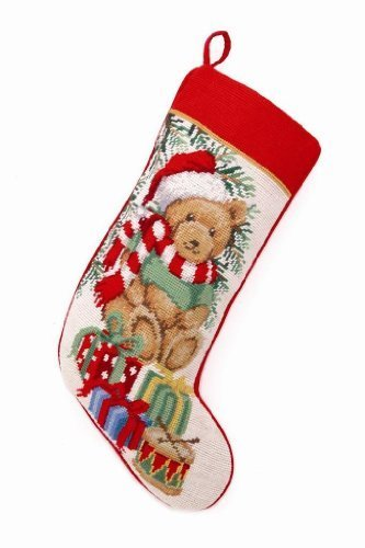 Teddy Bear with Santa Hat, Gifts and Drum Needlepoint Christmas Stocking, 18 X 11 Inch by Peking Handicraft