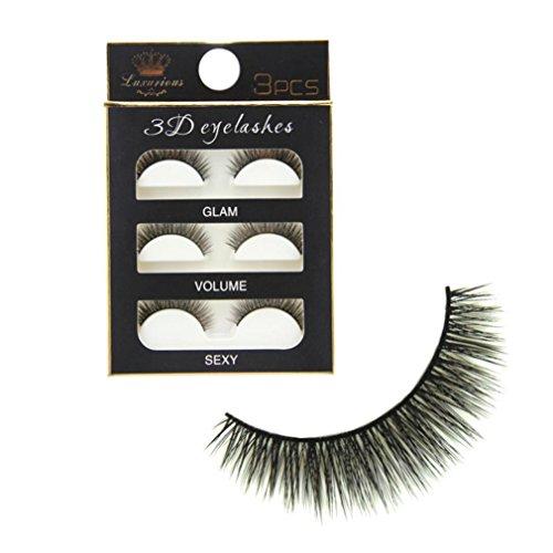 NewKelly New 3 Pairs Luxurious 3D False Eyelashes Cross Natural Long Eye Lashes Makeup
