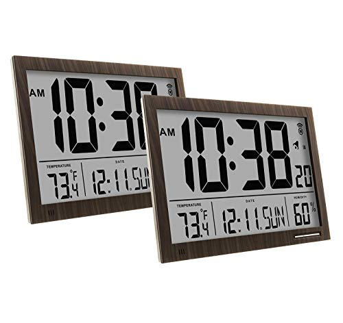 Marathon CL030062WD Slim-Jumbo Atomic Digital Wall Clock Bun