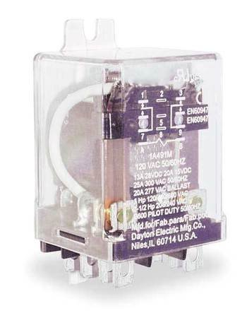 Dayton 1A491 Relay, Enclosed, DPDT, 8 Pins, 120VAC (Dayton Power Relay)