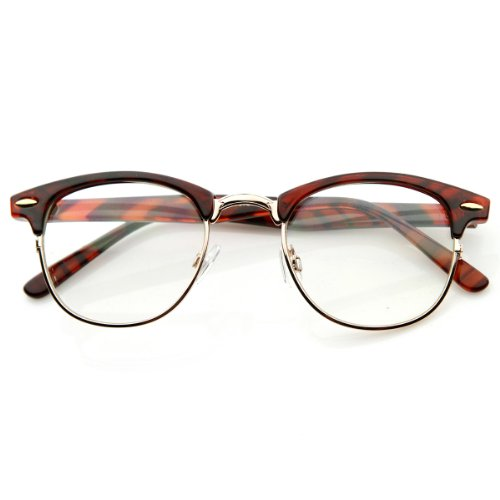 zeroUV - Optical Quality Horned Rim Clear Lens RX'able Half Frame Horn Rimmed Glasses, 49, - Half Glasses Tortoise Rim Shell