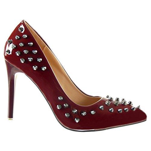 femme Angkorly Talon Mode clouté CM Escarpin stiletto decolleté 10 Bordeaux Chaussure haut aiguille FXXrwqa