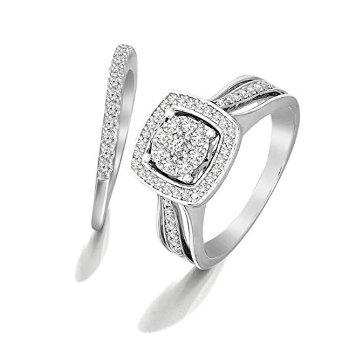 100% Pure Diamond Ring Halo Diamond Ring 3/8 ct IGI Certified Lab Grown Diamond Engagement Rings For Women Lab Created Diamond Rings SI-GH Quality 10K Real Diamond Band Rings ()