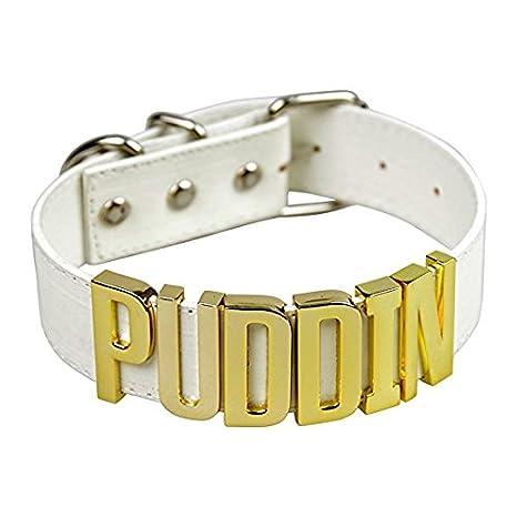 aspetto dettagliato 37cef 08187 Collare in cuoio di HARLEY QUINN - SUICIDE SQUAD -JOKER PUDDIN - vari  colori - High Quality Necklace - Bianco