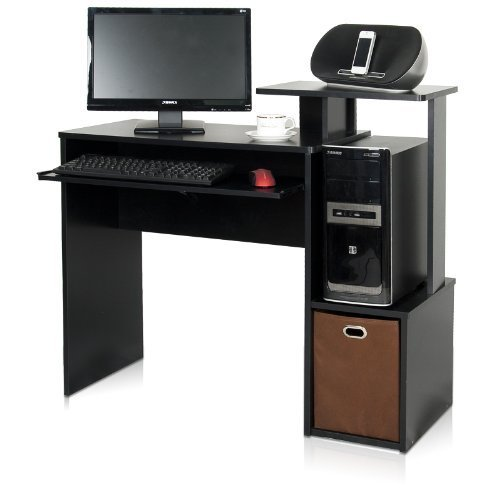 Furinno 12095BK/BR Econ Multipurpose Home Office Computer Writing Desk with Bin, Black/Brown Furinno