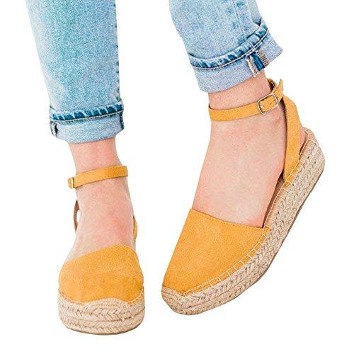 0d6cde99bb04 LAICIGO Womens Espadrilles Platform Wedge Sandals Elastic Crisscross  Strappy Closed Toe Mid Heel Sandals