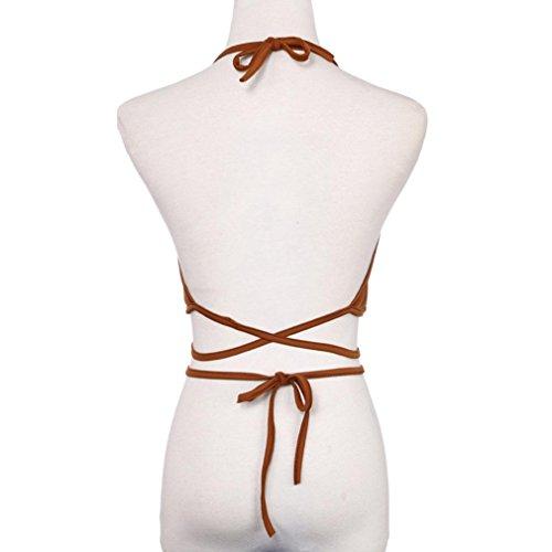 mujeres ropa ☀☀Camiseta Backless de la blusa del halter del chaleco (rojo) Caqui