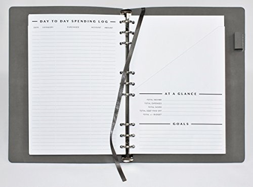 ClutterOut - Refillable Soft Cover Undated Monthly Finance Planner with pockets Calendar Savings Goals Debt Budget Expense Income tracker. Easily Customizable bill organizer Accounts Journal by ClutterOut