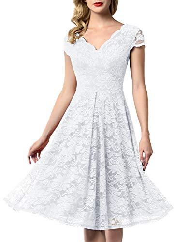 - AONOUR 0052 Women's Vintage Floral Lace Bridesmaid Dress Wedding Party Midi Dress Cap White 2XL