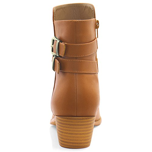 Boots Brown Toe Strap Pointed Women's Allegra Buckled Ankle Zipper K W8zOBZxS