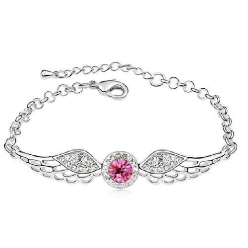 Latigerf Wing of Angel Bracelet White Gold Plated Swarovski Elements Crystal Pink