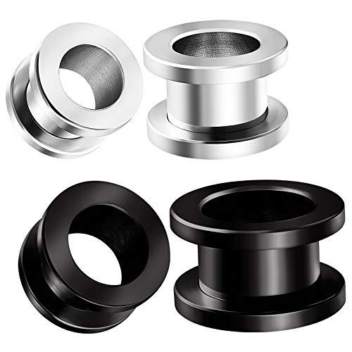 2 Pairs Steel Black Anodized Gauges 11 mm 1/2 inch (12mm) Screw Flesh Tunnels Piercing Stretcher Ear Ring Lobe Plugs BG4106