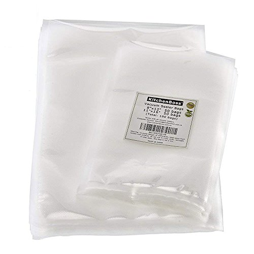 Vacuum Sealer Bags 50 of Each Size 8″x12″ Quart and 11″x16″ Gallon. KitchenBoss Commercial Grade for Vacuum Storage Bags for Sous Vide (Total 100 Bags)