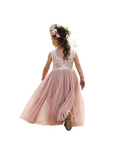 (Baby Girls Kids Tulle Tutu Dress Lace Wedding Party Prom Sleeveless Princess Sundress (110/4-5 Years, Pink) )