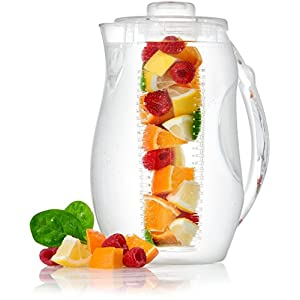 Circleware Acrylic Beverage Drink Pitcher with Lid Handle, Fruit Infuser and Ice Tube Insert for Water, Juice Tea, 2.8 Liters