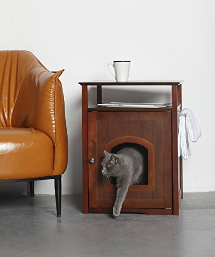 Merry Pet Cat Washroom/Night Stand Pet House, One size, Walnut - MPS008