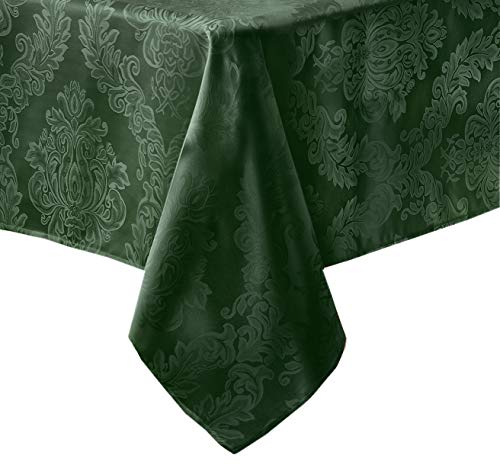 Newbridge Barcelona Luxury Damask Fabric Tablecloth, 100% Polyester, No Iron, Soil Resistant Holiday Tablecloth, 60 Inch x 84 Inch Oblong/Rectangle, Hunter Green (Green Cloths Table Fabric)