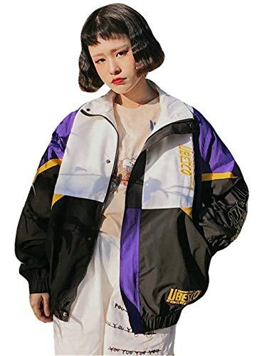 Chaquetas Mujer Elegantes Moda Anchas Ocasional Hipster Otoño Primavera Especial Estilo Abrigo Manga Larga con Cremallera Impresión Carta Talla Grande Boyfriend Outerwear Chaqueta Lila