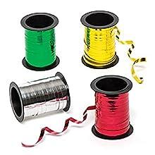 Baker Ross - Cintas metalizadas - 4 colores - Perfectas para manualidades, decoraciones y regalos navideños (pack de 4 rollos)