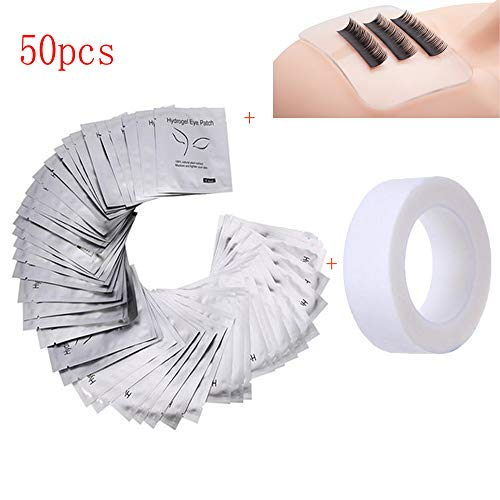 CR-QR 50 Pairs Eye pads Eyelash Pad Gel Patch Lint Free Lashes Extension Mask Eyepads & 1 Silicone False Lashes Holder Pad &1 Rolls Of White Eyelash Tape Eyelash Extension Supplies