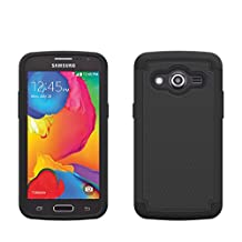 Samsung Galaxy Core LTE Rugged Impact Heavy Duty Dual Layer Shock Proof Case Cover Skin From theMobileArea - Black