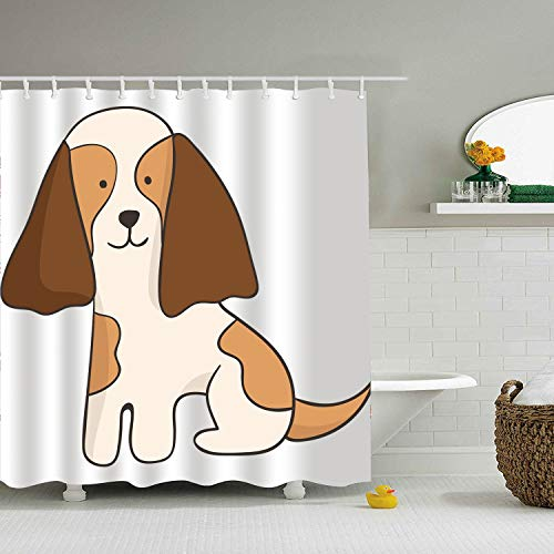 Qilrocm Shower Curtain Big Ear Dog Print Mom Gift Ideas Polyester Fabric Hooks Included 59 × 71