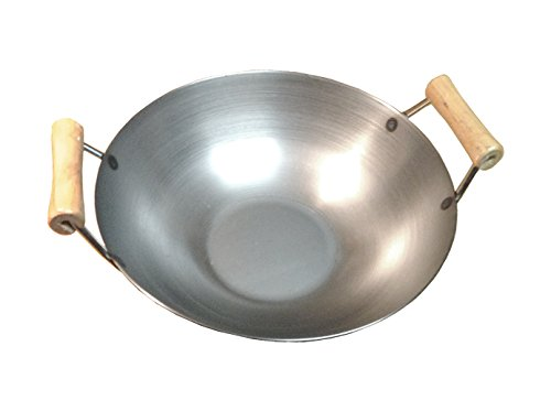 16 Inches Carbon Steel Flat Bottom Wok with Two Wooden Handle, 14 Gauge Thickness, USA Made