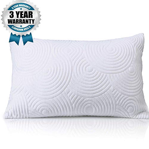 Shredded Memory Foam Bed Pillow - Adjustable to Thick Thin with Cool Breathable Cotton Case - Cooling Pillow for Side Back Sleepers - Soft Firm Support for Therapeutic Neck Pain Gift, Modern Queen