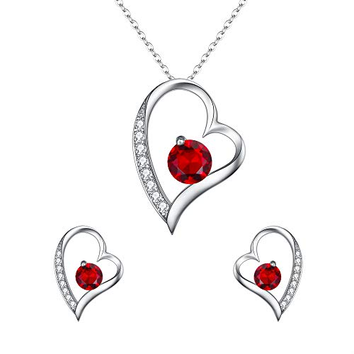 (EleQueen Women's 925 Sterling Silver CZ Heart-Shape Lovely Heart Pendant Necklace Stud Earrings Jewerly Sets Ruby)
