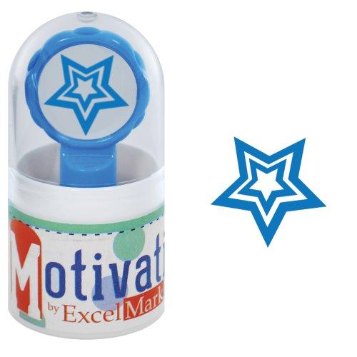 Inked Pre Star (Motivations Pre-inked Teacher Stamp - Star - Blue Ink)