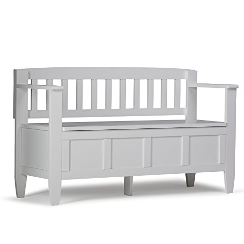 Simpli Home 3AXCBROBEN-WH Brooklyn Solid Wood 48 inch wide Contemporary Entryway Storage Bench in White ()