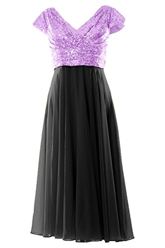 Cap Mother Lavender Macloth Bridesmaid 2019 Tea Dress Of Women Sleeve Length black Bride nWW4CZP68