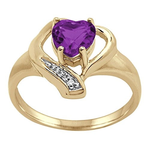 Amethyst and Diamond Accent Heart Ring in 10K Yellow Gold