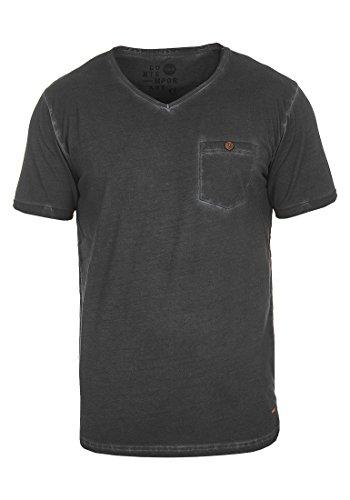 Manches À En Tinny Coton Courtes Chemise Pour solid V Encolure T 100 Homme 9000 Black shirt Avec PpCwcqI