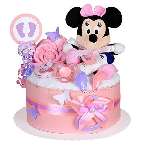 MomsStory – luiertaart meisje | Minnie Mouse Disney | babycadeau voor geboorte doop babyshower | 1 verdieping (roze) met…