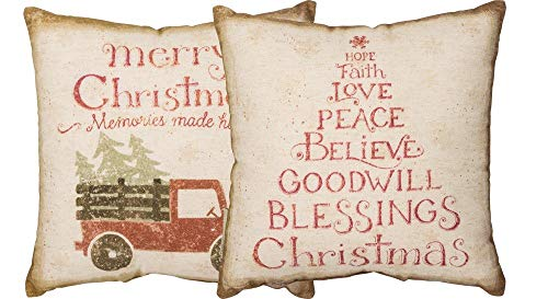 Small Primitives by Kathy Reversible Merry Christmas Memories Made Here Pillow 12 Square