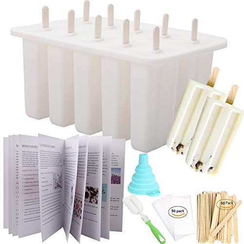 Homemade Popsicle Molds Shapes, Food Grade Silicone Frozen Ice Popsicle Maker-BPA Free, with 50 Popsicle Sticks, 50 Popsicle Bags, Brush, Funnel and Ice Pop Recipes(White 10 Cavities)